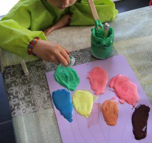Ballons peinture relief paillettes